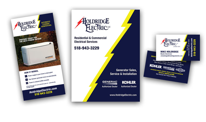 Image of Holdridge Electric Print folders, brochures and business cards