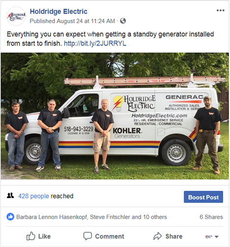 Image of a Holdridge Electric Facebook post