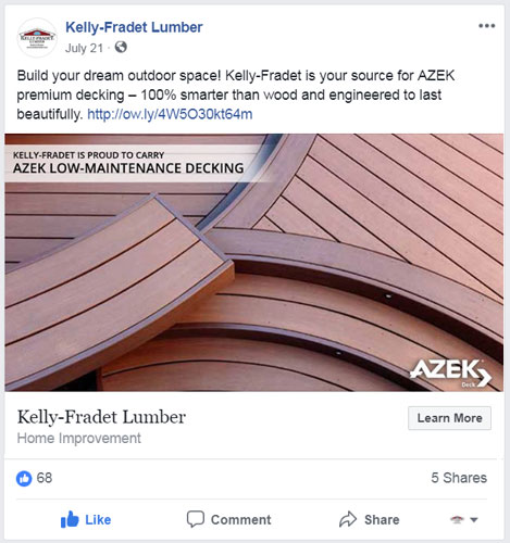 Image of a Kelly-Fradet Lumber Facebook post