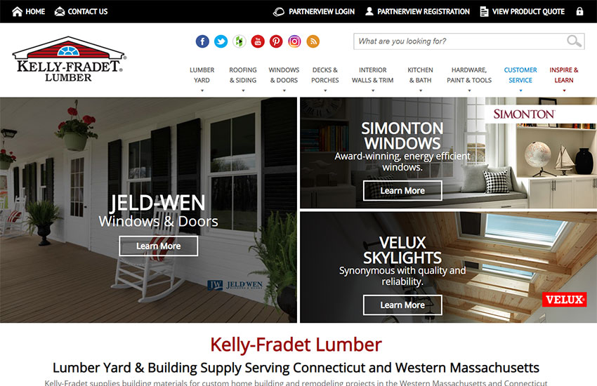 Image of the Kelly-Fradet Lumber Website