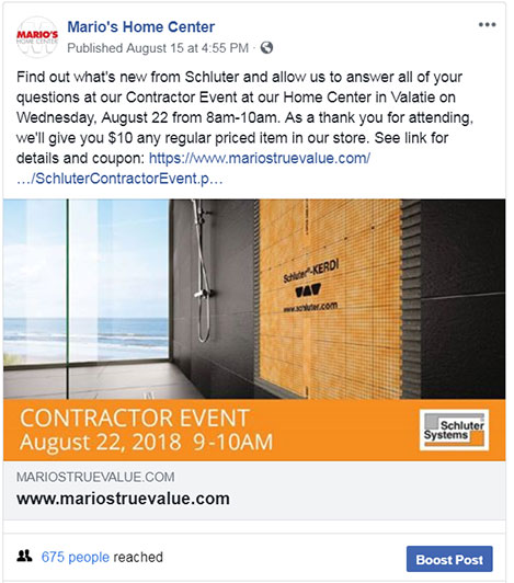 Facebook Posts are useful to promote contractor events held in store.