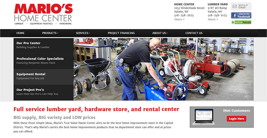 Mario's Home Center offers lumber, hardware AND rental equipment. This is reflected on their website messaging for easy recognition.