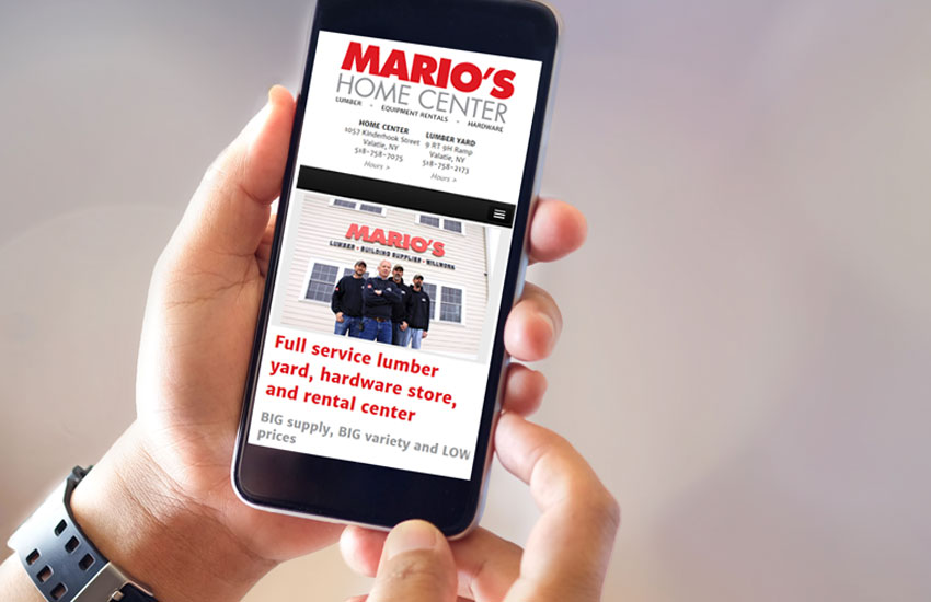 Image showing Mario's Home Center Website on a phone