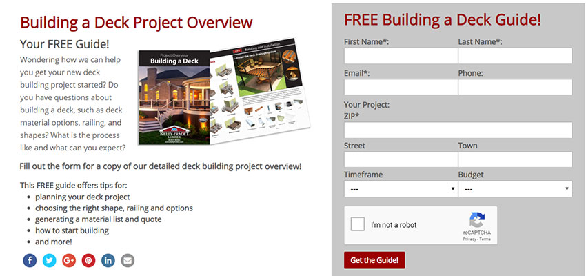 Image of lead generation pages for Kelly-Fradet Lumber