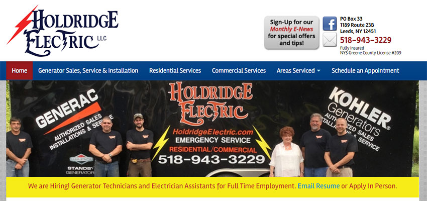 Image of Holdridge Electric's Website