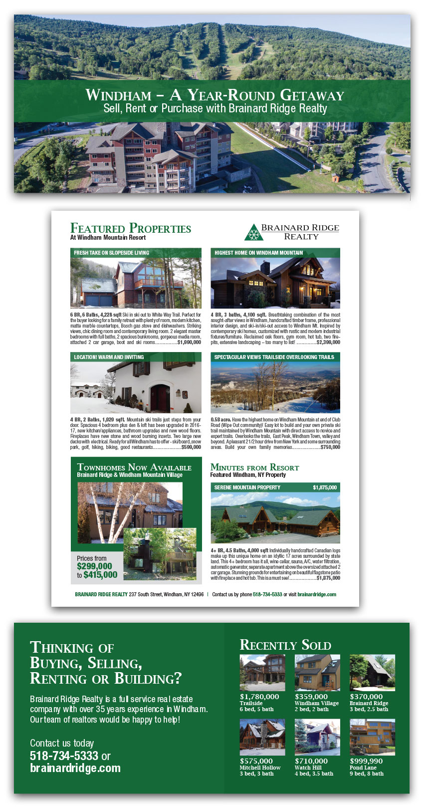 This elegant trifold brochure shows a wide selection of properties available this season.