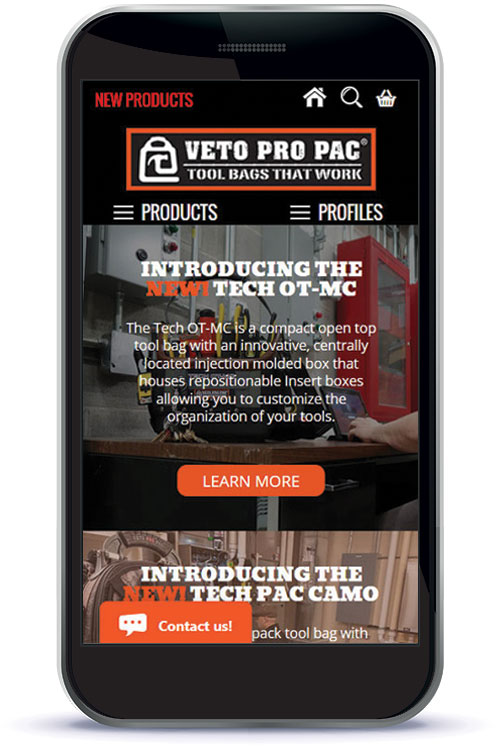 Mobile view of Website home landing page.