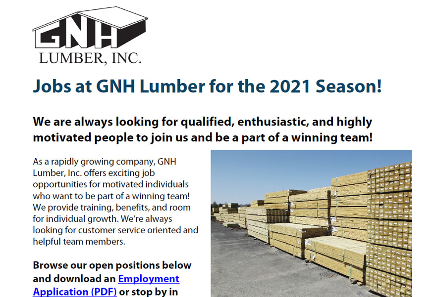 GNH Jobs Available Flyer