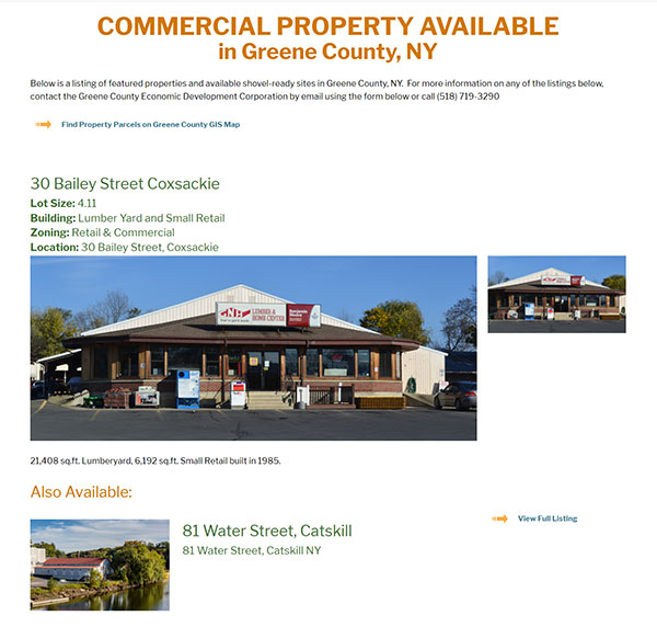 Available Commercial Property in Greene County website screenshot