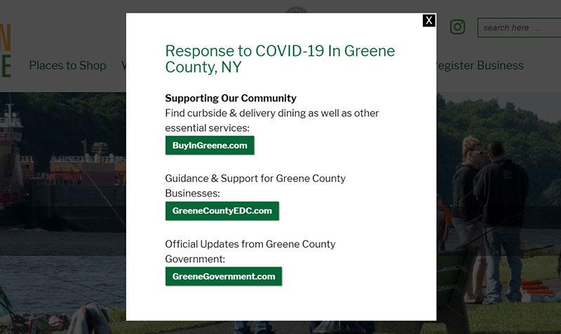 COVID-19 website popup window