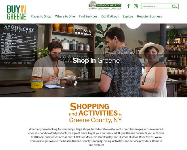 Buy in Greene website homepage