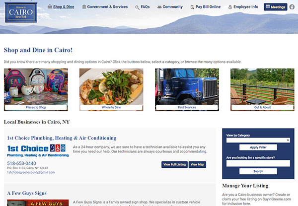 Shop and Dine section on the Town of Cairo website
