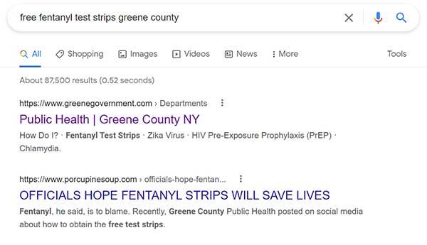 Google Search Results Fentanyl Campaign